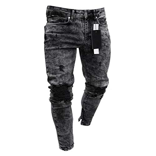 WYX Herren Jeans, Frühling Herbst Herren Kleidung Jeans Distressed Freyed Slim Fit Freizeithose Stretch Ripped Jeans,a,XL - Classic Distressed Jeans
