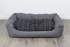 Panier pour chien, moderne, gris, 120x80 cm, avec coussin réversible, coussin pour chien, lavable