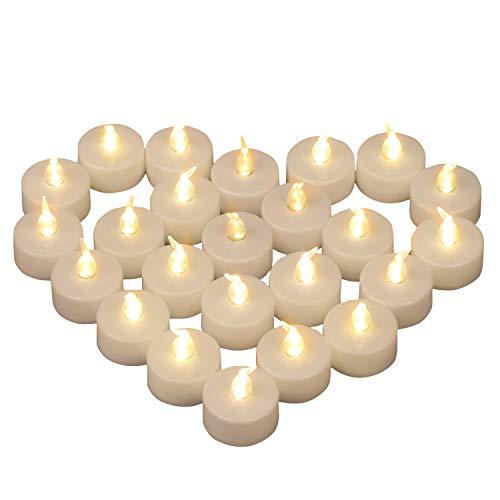 Yooyee LED Velas de Té Sin Llama 24 Piezas Luces de Té Blanco Cálido Luz de Velas Eléctricas y LED Vela Brillante con Pilas para Decoración de Fiesta Bodas Halloween Navidad (Luz Blanco Cálido)