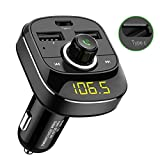 [Upgraded]Car Radio Bluetooth Adaptor, Ridpix Car Bluetooth FM Transmitter, USB C Universal Car Charger [Handsfree Car MP3 Player] with Type C Port and Dual USB, 5V 3.6A, TF Card Slot, Bluetooth 4.0, SD Card, Compatible with iPhone 6 7 8 Plus X/XS Max Samsung S7 S8/Note 9 iPad Tablet Macbook iPod and more