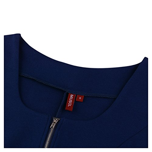 Miusol Vintage Kleid Karree-Ausschnitt 3/4 Arm Cocktailkleid Business Kleid, Blau - 5