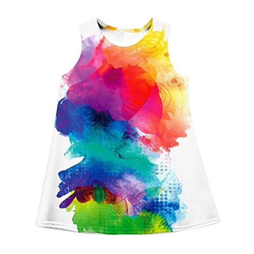 ahre großes Kind Kinderbekleidung Mädchen, neues Kleid, Sommer, ärmellos, Farbe, Graffiti, Kleid, Sonnenkleid(Mehrfarbig, S) ()