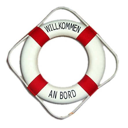 wattkiste Deko-Rettungsring rot/weiss, 50 cm Willkommen an Bord (Willkommen An Rettungsring Bord)