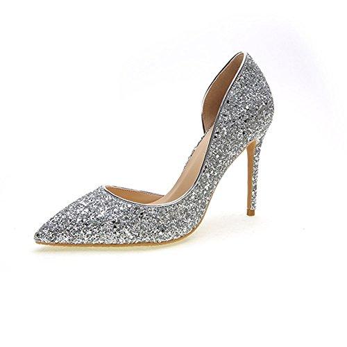 YIXINY Escarpin LHZ88 Chaussures Femme Tissu Paillettes + Microfibre Amende Talon Pointu La Bouche Peu Profonde Mariage Talons Hauts Argent