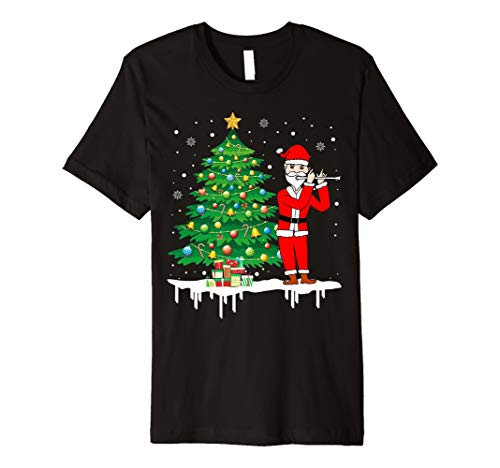 Weihnachtsmann, der Flöte-lustiges T-Shirt Geschenk -