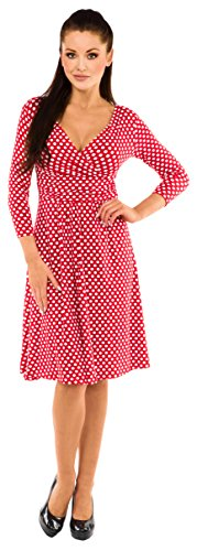 Glamour Empire - Robe - Cocktail - Manches 3/4 - Femme red