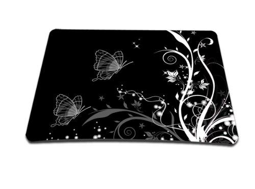 Luxburg® Design Mousepad Mausunterlage Mauspad, Motiv: Pflanzenornament mit Schmetterlingen schwarz/weiß