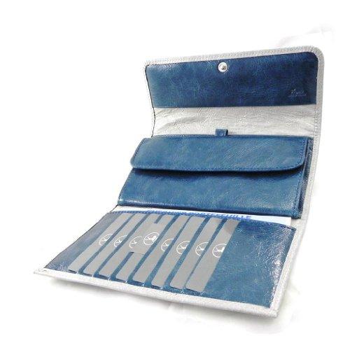 Portafogli portassegni pelle 'Frandi' grigio laccato turchese.