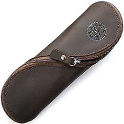 Estuche de cuero auténtico - estilo vintage hecho a mano suave estuche de gafas delgadas, estuche de lápices y cartuchera