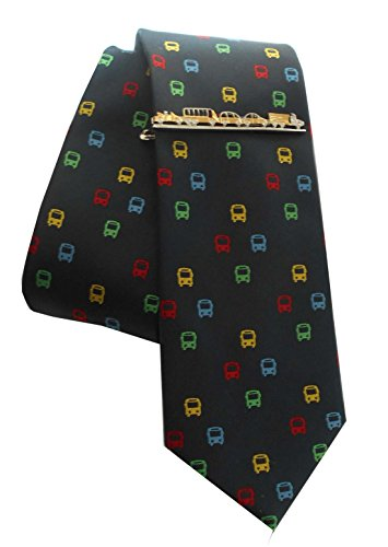 Bus Seidenkrawatte Set plus Krawattennadel Fahrzeuge Stau inkl. Geschenkhülle + Box 1K