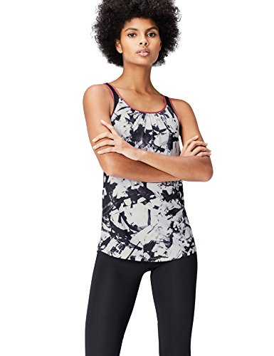 Activewear Top Sportivo Donna, Nero (Black/glass Print), Large