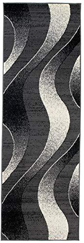 Tapiso dream passatoia camera corridoio salotto moderno grigio scuro crema design ondato motivo astratto onde 80 x 150 cm
