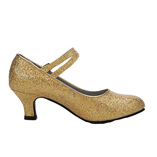 Frauen Erwachsener Sommer Lateintanz In Den Fersen Gesellschaftstanz Flash-Gold Pailletten Ballsaal Tanzschuhe Gold