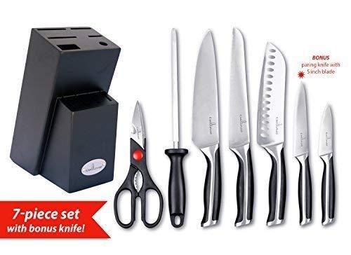 Culina Juego de cuchillos forjados de acero alemán de 7 piezas con bl