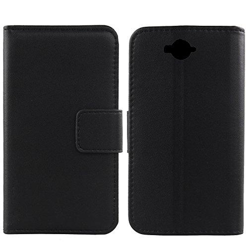 Gukas Design Echt Leder Tasche Für Doogee Homtom HT10 Hülle Handy Flip Brieftasche mit Kartenfächer Schutz Protektiv Genuine Premium Case Cover Etui Skin (Schwarz)