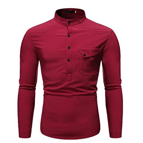 Dwevkeful Herren Freizeit Blusen Sweatshirt Stehkragen Shirt Tops Reine Farbe Langarmshirts Hemden Herbst Winter Lange Pullover Button Down Hemd -