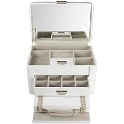 Dulwich Designs 71023 - Joyero (piel, grande), color marrón y beige