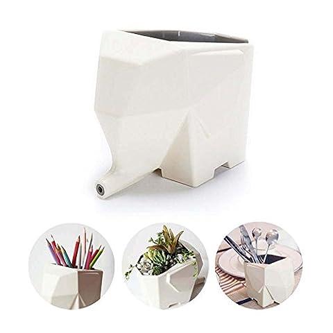 Support de brosse à dents en forme de éléphant Égouttoir à couverts en plastique Cosmétique de stockage support Boîte de rangement pour la maison de cuisine de salle de bain brosse à dents Peigne Pen Cuillère Accessoires de petite taille