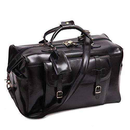 Leathario Herren Ledertasche Handgepäck Umhängetasche Reisegepäck Bordtasche Freizeittasche Reisetasche Sporttasche Weekender Duffel Bag, Schwarz