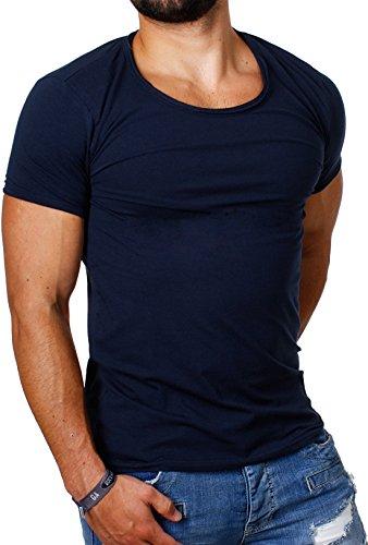 Carisma Herren Uni Basic T-Shirt 4066 tiefer Rundhals Ausschnitt slimfit stretch einfarbig dezenter vintage used Look am Kragen dehnbare Passform Dunkelblau