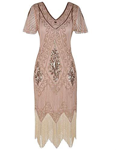 MATTE Women es Gatsby Dress 1920er Pathoins Art Deco Charleston Cocktail Dress with Sleeve,XL