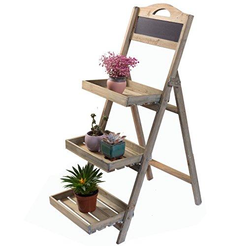 Etagère de jardin Etagère à plantes en bois avec tableau en ardoise noir