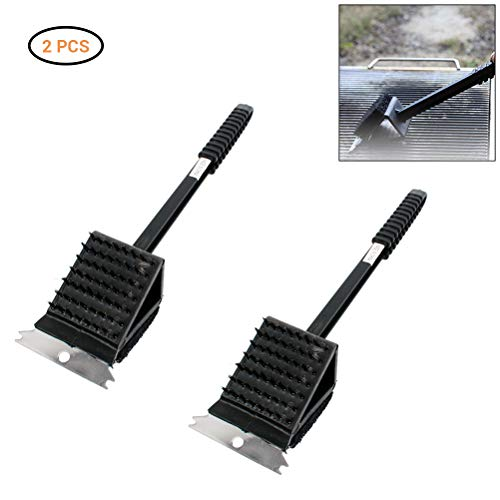 Surenhap 3 in 1 Multifunction Brush Handle Stainless Steel Barbecue Grill Oven Cleaning Brushes Non-stick BBQ Cleaner