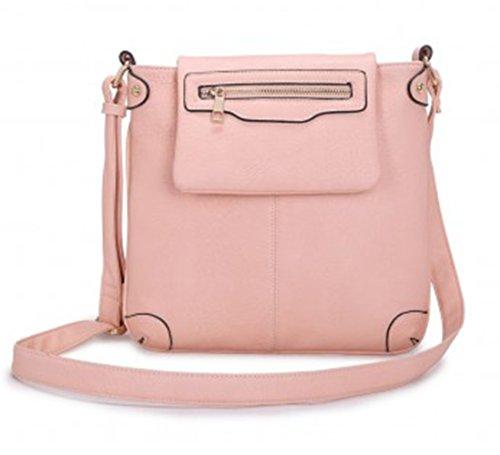 LeahWard® Klein Größe Damen Kreuzbeutel Damen AKreuz Handtaschen D0023 Rosa 27x26cm