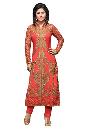 Tiludi Fashion New Arrival Party Wear Orange Georgette Embroidered Salwar...