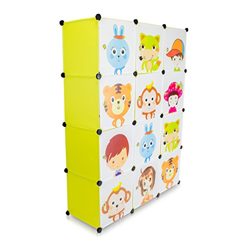 VENKON - Kinderzimmer Steckschrank DYI Steckregal System Regalschrank: 12-Module-Set, grün