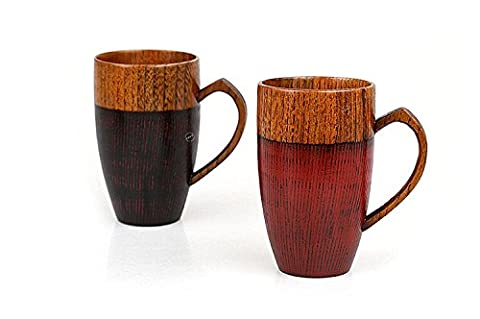 Bois Conforme à la couleur Mug Tasse faite à la main en bois avec cœur Poignée 283,5gram Couple