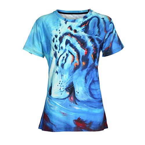 MORCHAN Fashion Funny Women Mode 3D Print Casual Short Sleeve Élégant Automne Hiver Slim fit lâche Animal Science Fiction Top Blouse T Shirts (FR-40 / CN-M,Bleu)