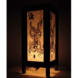 Rare Asia Thai lámpara de mesillas Buda estilo noche negro blanco Dragon por Tailandia