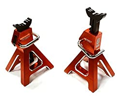 Integy Rc Hobby C26409 Red Realistic Model 6 Ton Jack Stands (2) For 1/10, 1/8 Scale & Rock Crawler