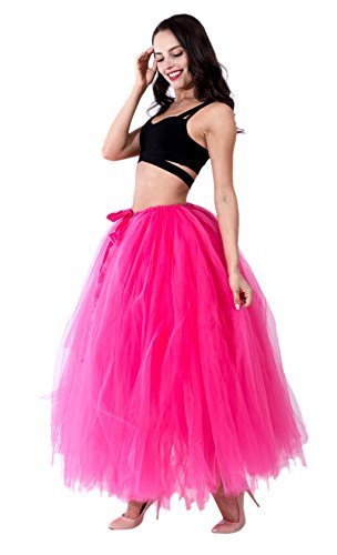 URVIP Damen's Rock Tutu Tuturock Tütü Petticoat Tüllrock mit Gummizug für Karneval, Party und Hochzeit Fuchsie One Size