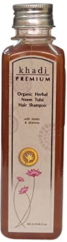Khadi Premium Organic Herbal Neem (Azadirachta indica) Tulsi (Basil) Shampoo 250ml / 8.45 fl.oz. with Honey & Aloe Vera Anti Dandruff Action *Ship from