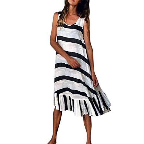LSAltd Sommer Frauen Casual Striped Print Sleeveless Plus Size Strandkleid Damen Kurze Rüschensaum Täglich Langes Kleid Zip Tank Kleid