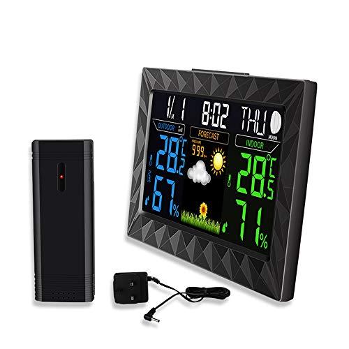 Estación meteorológica multifuncional, Pantalla a color inalámbrica Barómetro de humedad y temperatura...