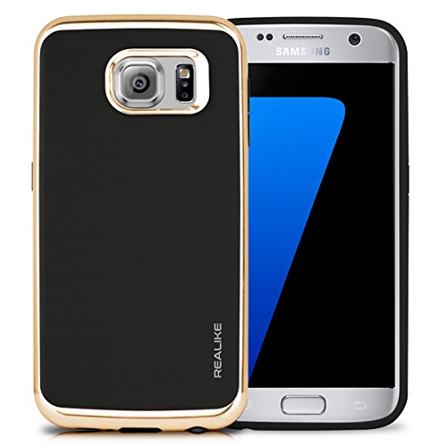 REALIKE™ Premium Shock Proof Protective Dual Layer Case for Samsung Galaxy S7 Edge, SKYFALL Series, Gold