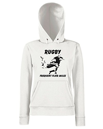T-Shirtshock - Sweats a capuche Femme TRUG0047 rugby flier fitted logo Blanc
