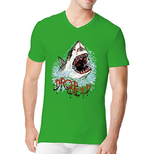 Fun Männer V-Neck Shirt - Drop Dead Hai Angriff by Im-Shirt Kelly Green