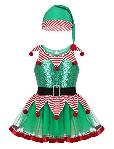 Freebily Kinder Mädchen Kleid Weihnachten Fee Kostüm Grün Outfit Festzug Dancewear Tanzkleid Trikot Mesh Tutu Rock mit Hut Grün (Dancewear Tutu Kostüm)