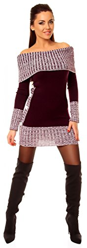 Zeta Ville - Damen Pullover aus Grobstrick Carmen-Ausschnitt Strick-kleid - 913z Lila