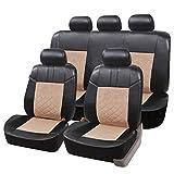 eSituro SCSC0163 Auto Schonbezug, Sitzbezüge für Auto, Dicke gepolstert, universal, schwarz-beige