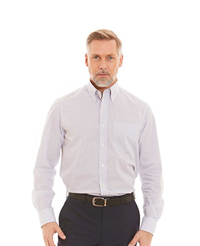 Savile Row Men's Lilac Blue White Grid Check Classic Fit Shirt - Single Cuff Lilac Blue White