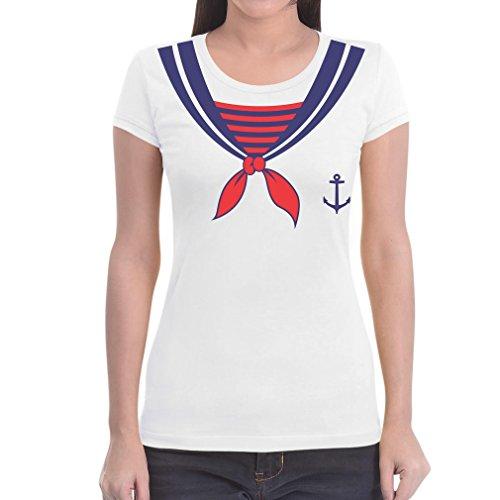 Seemann Paare Kostüm - Karnevalskostüm Damen Matrosin Matrose Fasching Karneval Paare Frauen T-Shirt Slim Fit XX-Large Weiß