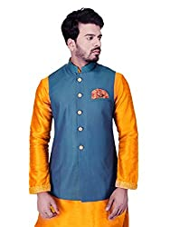 Manyavar Mens Waist Coat (WC00100-306-S_Blue)