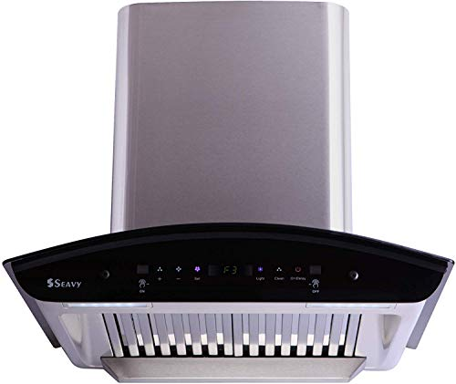 Seavy 60 cm 1200 m3/hr Auto Clean Chimney with Free Installation Kit (Zeroun Plus SS 60, 2 Baffle Filters, Touch Control + Motion Sensor Control, Silver)