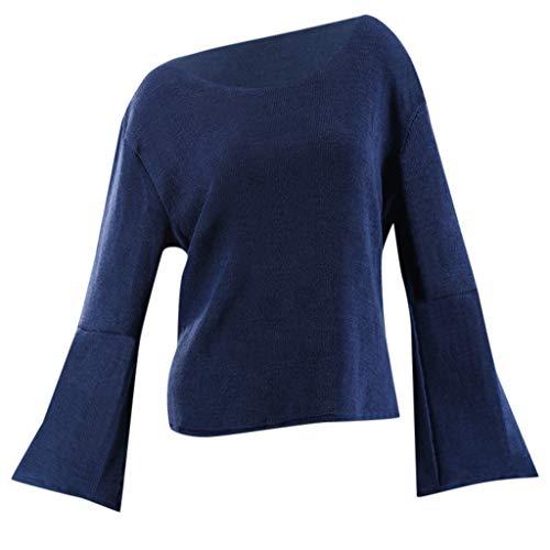 Vectry Damen Damenmode Oberteile Lässig Rundhals Einfarbig Freizeit Langarmhemd Aufflackern Ärmel Strickbluse Locker sitzender Pullover Tägliche Tunika Blau M