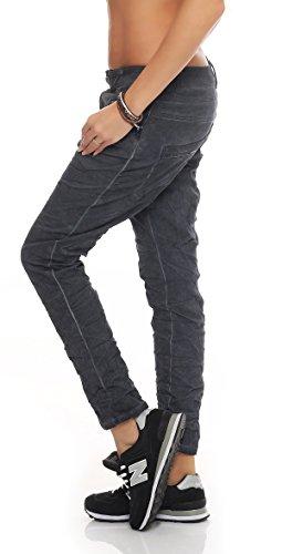 SKUTARI Damen - Jeans Boyfriend Stretch Glitzer Pailletten Grau 2